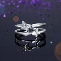Solid 925 Sterling Silver Ring Band Fashion Butterfly New Style for Girls Ladies - $69.99+