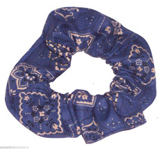 Denim Bandana Hair Scrunchie Scrunchies by Sherry Cotton Fabric  Ponytail Holder - $6.99