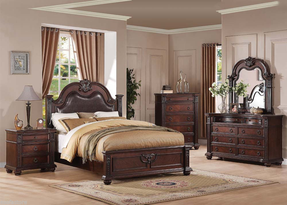Queen Size Bedroom Set 4Pc Cherry Finish And 50 Similar Items