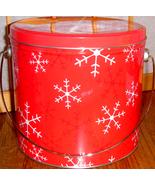Round Cookie Tin ~ Red w/ White Snowflakes - $2.00