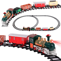 Classic Christmas Train Set With Light Sound Smoke Kids Toy Children Xma... - $43.93