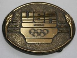 USA 1984 Olympics Belt Buckle Brass Bronze - $19.03