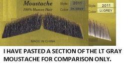 GENTLEMEN'S HUMAN HAIR DARK GRAY MUSTACHE - $8.00