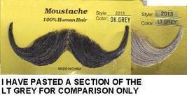 HANDLEBAR HUMAN HAIR DARK GREY MUSTACHE - $10.00