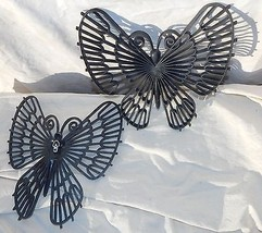 Vintage Mid Century Black Butterfly Wall Hanging Set Burwood Products '71 Retro  - $44.54