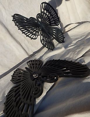 Vintage Mid Century Black Butterfly Wall Hanging Set Burwood Products '71 Retro