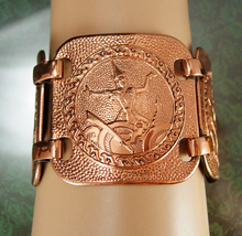 """HUGE Copper bracelet 1 3/4"""" wide Indonesian Goddess figural Extra Large ... - $75.00"""