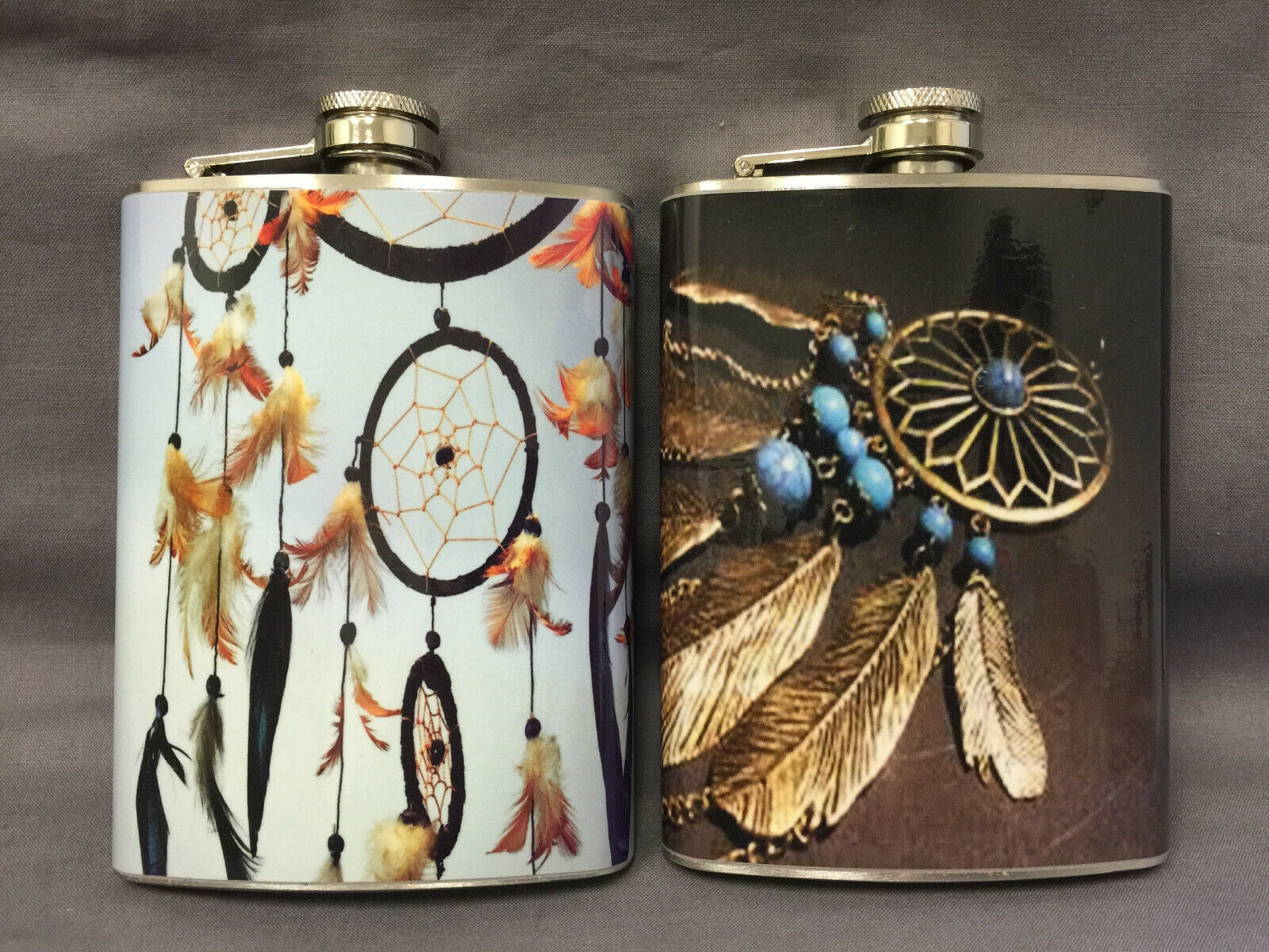 Set of 2 Dream Catcher D2 & 4 Flasks 8oz Stainless Steel Drinking Whiskey
