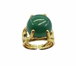 pleasing Green Onyx Gold Plated Green Ring indi... - $17.99