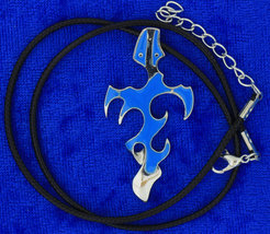 Fire Sword Necklace or Keychain Blue Cross Anime Chain Style Length Choice - $4.99+