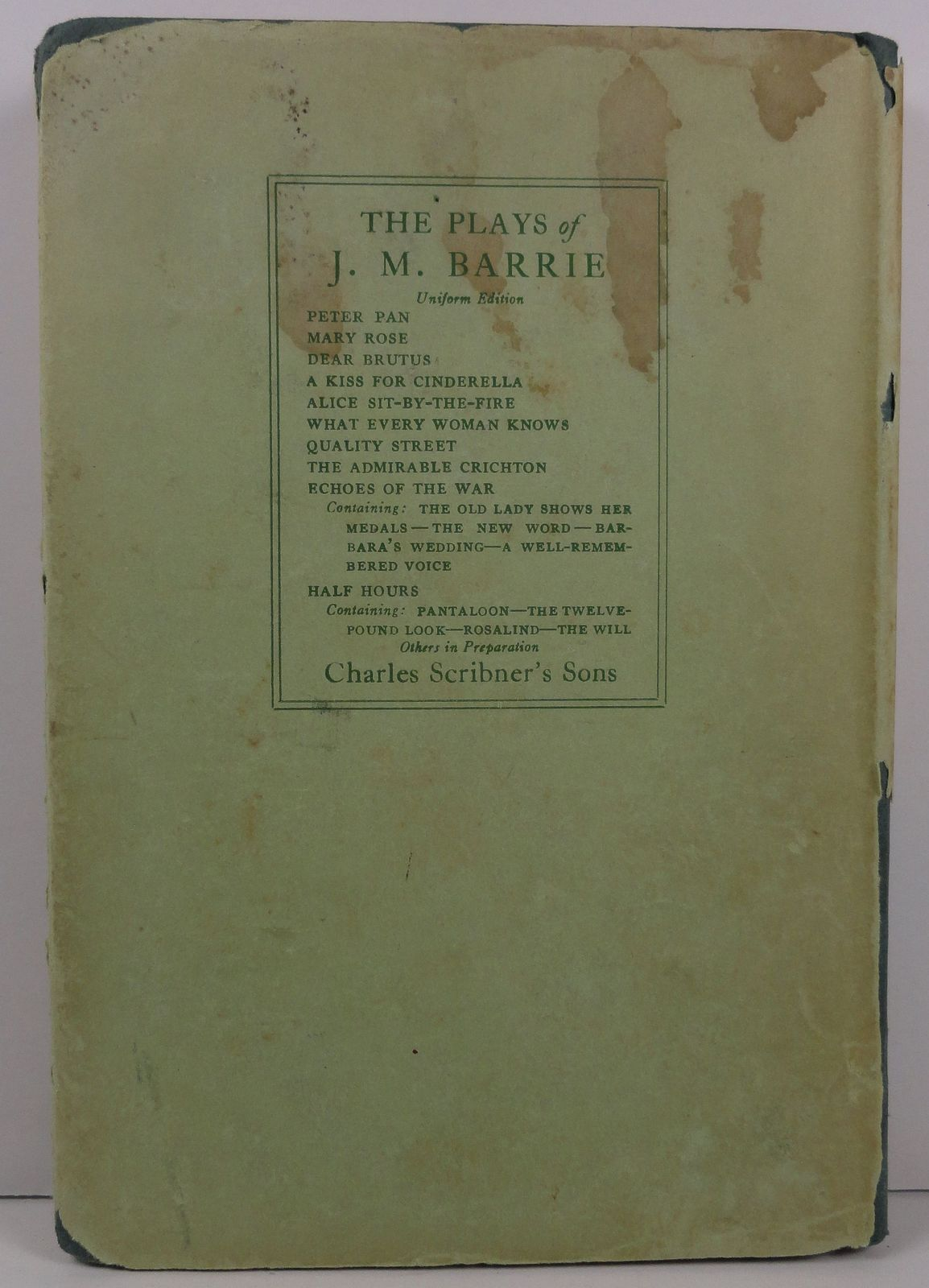 Shall We Join the Ladies? Plays of J. M. Barrie 1929 HC/DJ