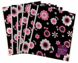 "Lot of 24 Duck Fabric Crafting Tape Sheet Black Pink Floral 8 x 10"" Deco... - $28.49"