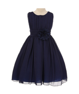 Navy Blue Yoryu Chiffon Flower Girl Dresses Birthday Bridesmaid Pageant ... - $38.00