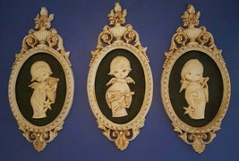 Mid Century Wall Art Angel Plaques Set 3 Made in Mexico Crushed Bone Pot... - $77.59
