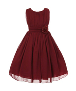 Burgundy Yoryu Chiffon Flower Girl Dress Birthday Party Prom Wedding Bri... - $38.00