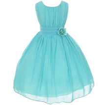 Aqua Round Neck Yoryu Chiffon Flower Girl Dresses Birthday Party Pageant... - $38.00