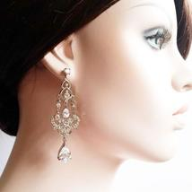 Long Chandelier Cubic Zirconia Earrings - Dangle Bridal Jewelry - $60.00