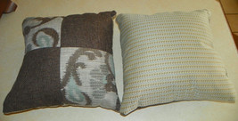 Pair of Taupe Blue Paisley Print Decorative Throw Pillows  16 x 16 - $59.95