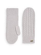 COLE HAAN Cable Knit WOOL Winter MITTENS Gold Hardware GREY Free Shipping - $74.77