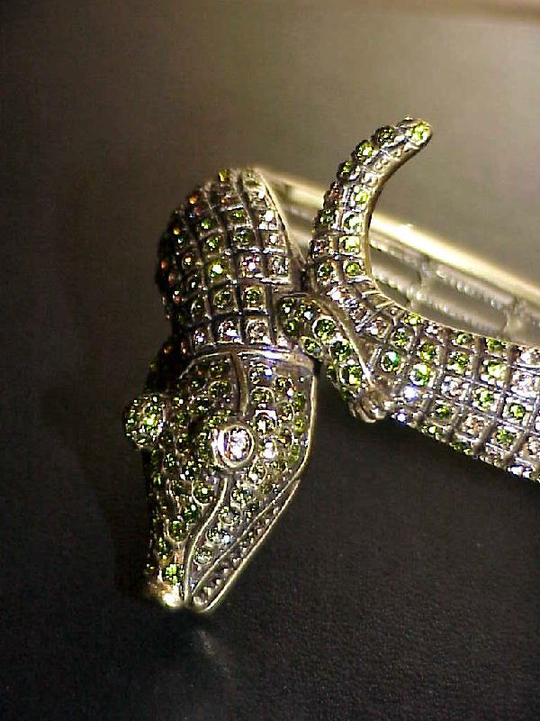 Heidi Daus Crocodile Crystal Bypass Bangle Bracelet 6-1/2 inches