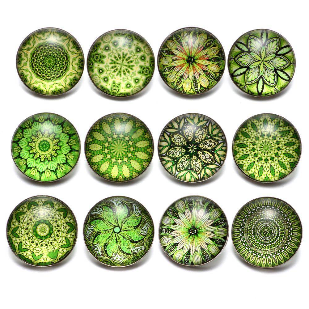 Primary image for 12pcs/lot Green Series Theme Beautiful Exotic Pattern 18mm Snap Button Charms Fo