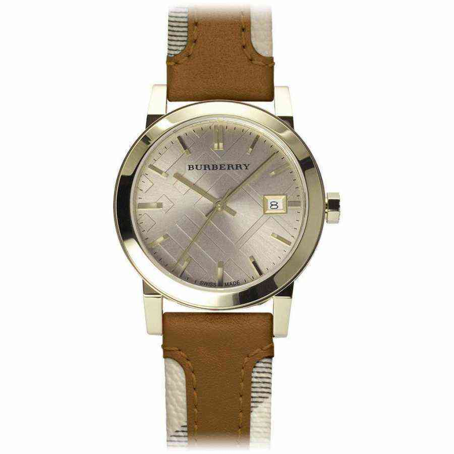 Authentic Burberry Classic Nova check strap Gold dial Womens Watch BU9133