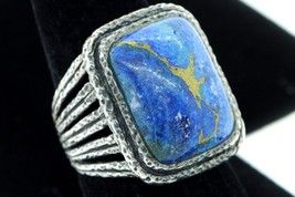 Art Deco Style Sterling Silver Large Natural Lapis Ring (Size 9) - $130.00