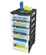 Black Rolling 6 Drawer Cart Plastic Mobile Office Supply Storage Arts Cr... - $59.39
