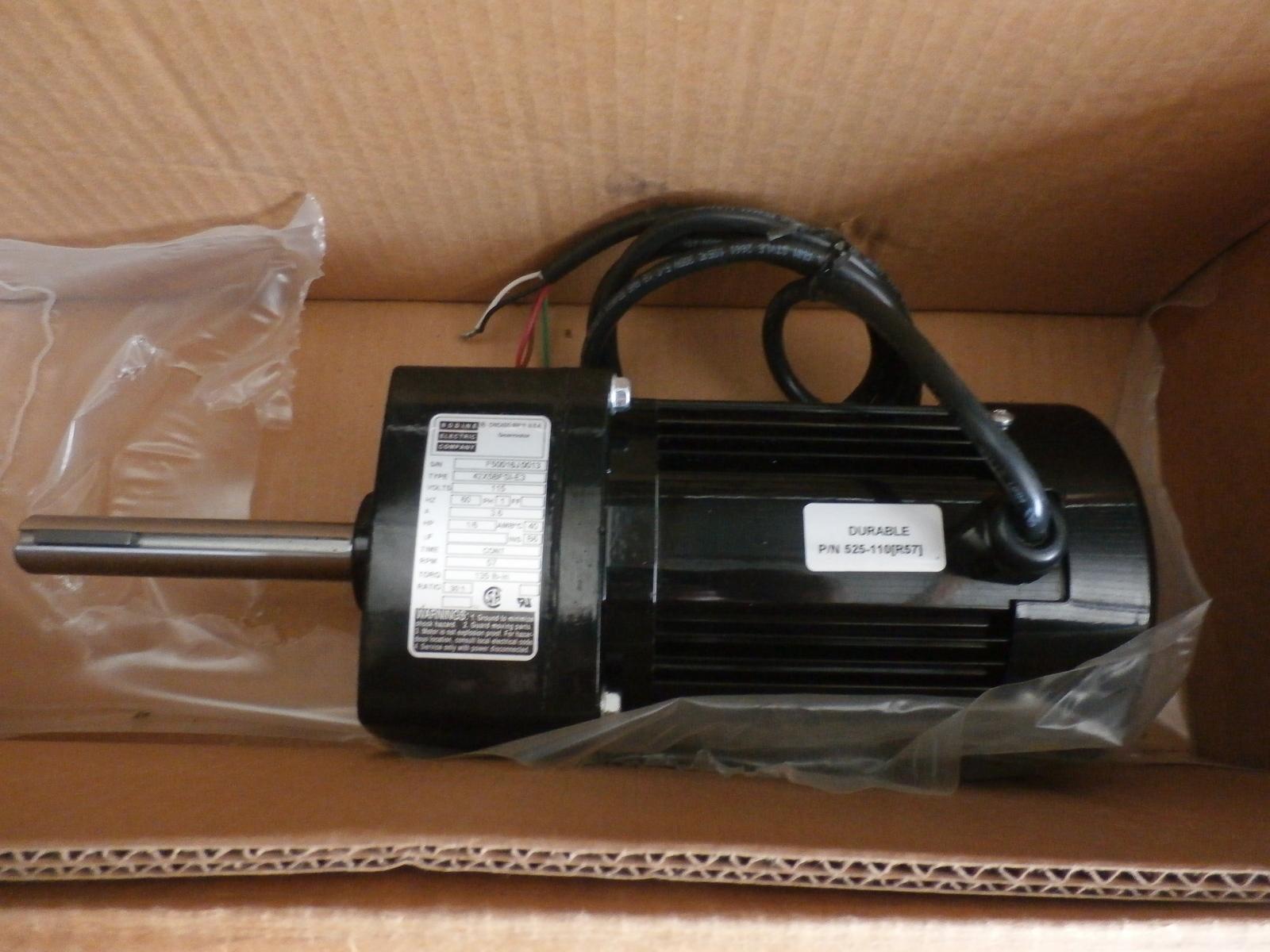 Bodine Electric Co. Gearmotor, 42X5BFS1-E3,V- 115, Hp-1/6, RPM- 57, Ratio 30:1