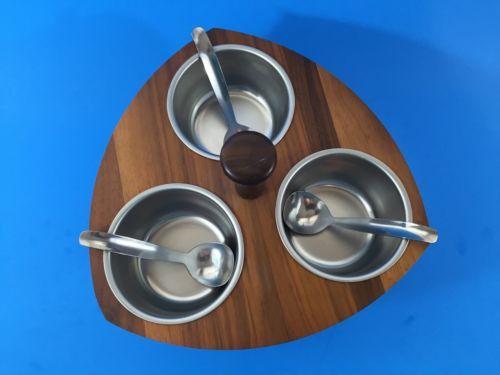 Vintage Kustom Kraft Solid Black Walnut & Chrome 3-Bowl Condiment Lazy Susan USA