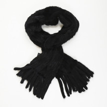 Gorski Black Mink Fur Fringed Scarf - $205.00