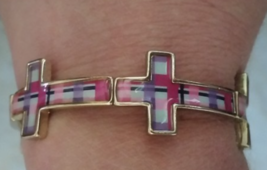 Cross Religious Stretch Bracelet Goldtone Pink Purple Blue Plaid New - $12.99