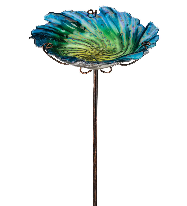 Cute Glass Blue Flower Birdbath/Seed Feeder w/Stake Garden Decor,12'' x 25''H
