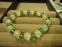 Green And Clear Glass Elastic Bead Bracelet  - $2.50
