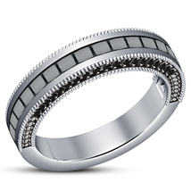 Engagement Band Ring In Princess Cut Black CZ 14k White Gold Plated 925 Silver - $78.88
