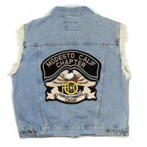 HARLEY DAVIDSON Owners Mens L Denim Biker Jean Jacket Vest Modesto CA Ch... - $113.84