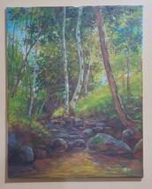 Original painting, acrylic paint on canvas nature scenery, trees, stream... - $250.00
