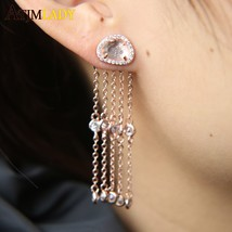 Punk Rock Style Woman Young Gift CZ Chain Earrings, rose Gold Silver col... - $17.55