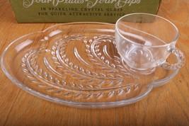 Vintage Federal Glass Hospitality Snack 6 Piece Set Wheat Design Origina... - $26.17
