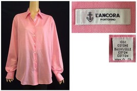 L'Ancora Portofino Italy Pink Cotton Button Down Relaxed Fit Shirt Size 52 - $72.00