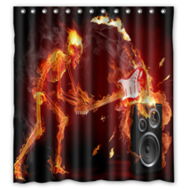 Guitar On Fire #35 Shower Curtain Waterproof Made From Polyester - $29.07+