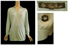 Loro Piana Italy Light Green Silk & Cotton Knit Button Front Collared To... - $198.00