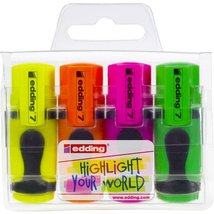 EDDING MINI HIGHLIGHTER PENS - SET OF 4 Assorted Colours - $5.29