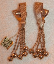 Vintage Napier Earrings Metal Ribbons with Dangles NWT - $38.50