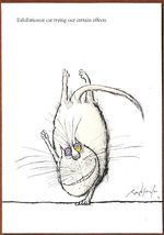 RONALD SEARLE'S CATS NOTECARD+ENV PAPYRUS (4) HANDSTAND HUMOROUS - $3.95