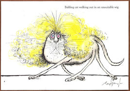 RONALD SEARLE'S CATS NOTECARD+ENV PAPYRUS (4) BLONDE WIG HUMOROUS - $3.95