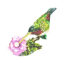 Welforth Pewter Hummingbird with Flower Novelty Trinket Box Jewelry Box - $29.70