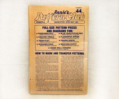 Annie's Pattern Club Newsletter 1987 No. 44