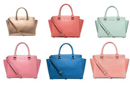 Michael Kors Selma Satchel Medium Blue Pink Gra... - $178.19