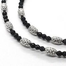 925 STERLING SILVER OFFICINA BERNARDI DIAMOND CUT SPHERES OVALS BLACK NECKLACE image 2